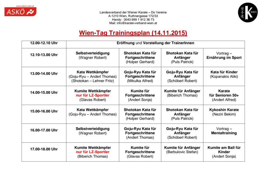 Trainingsplan 2015